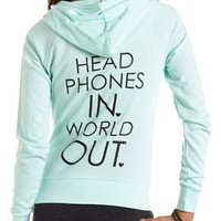 """Headphones In"" Zip-Up Hoodie: Charlotte Russe"