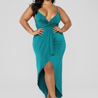 Love Is Patient Ruffle Dress - Green