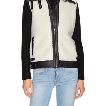 Renvy Women's Faux Shearling Jacket with Knit Sleeves - Black -