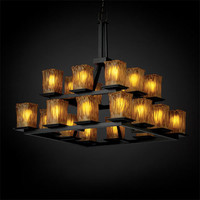 Justice Design Group GLA866726AMBRMB Veneto Luce Montana 20-Light Matte Black Two-Tier Ring Chandelier