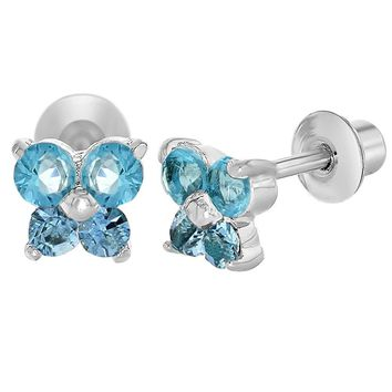 Rhodium Plated Tiny Butterfly Light Blue CZ Screw Back Baby Girl Earrings