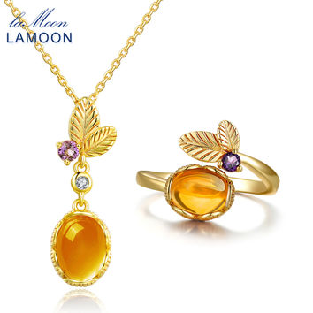 LAMOON classic flower 100% Natural Citrine 925 Sterling Silver Jewelry S925 14K Yellow Gold Plated Jewelry Set V022-3