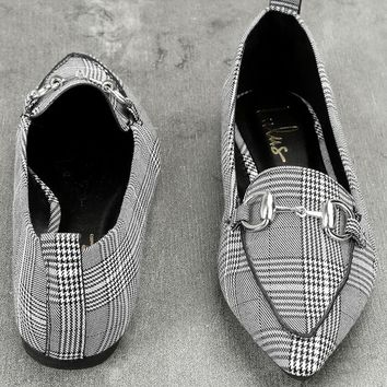 Charlotte Black and White Plaid Loafers