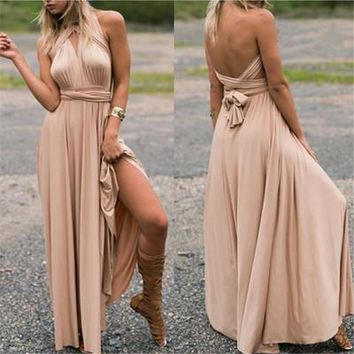 Summer Women Dress Sexy Women Beach Long Bandage Multiway Convertible Holiday Party Dresses Infinity Wrap Robe Maxi Wrap Vest Dress S-XL