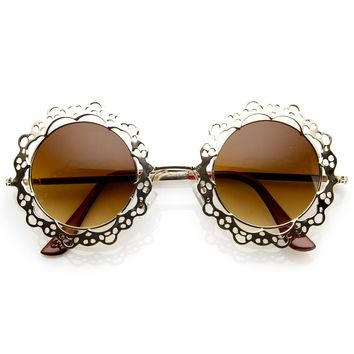 Womens Fashion Metal Cut-Out Lace Circle Round Sunglasses