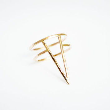 Gold Fill Large Spike Ring, Spike Ring, Gold Fill, Thin Gold Ring, Rose Gold