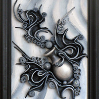 Abstract Picture, 3D Hand Painted Leather Wall Art Decor, Wooden Frame, Hand Painted Ceramic Vase, Relief Background, Black and White