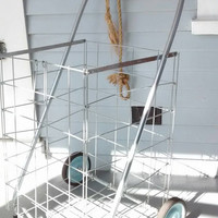 Vintage, Folding,Wire, Metal, Pull Cart, Grocery Cart, Shopping Cart, Laundry Basket or Display Basket