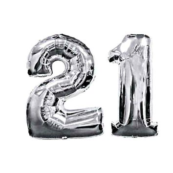21 Birthday Silver Number Mylar Balloons