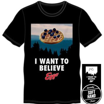 Kellogg Company I Want To Believe Eggo Waffle Men's Blue T-Shirt