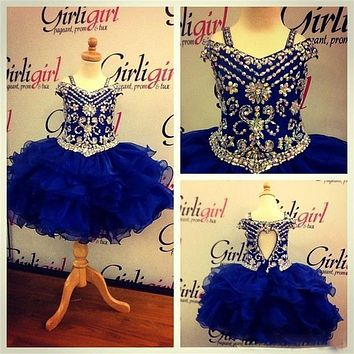 Pageant Dress for Teen Princess Little Girls Toddler Infant Pageant GownS Cupcake Crystal Royal Blue Ball Gown Flower Girl Dress