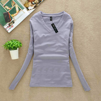 Hot sale Autumn Winter New Fashion Women T-shirt Slim sexy v-neck long sleeve T-shirt Women Pure color Add wool warm T-shirtG888