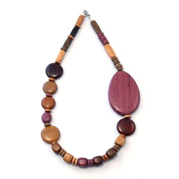 TICA SURF Unique exotic wood necklace - Side Oval - EE3233