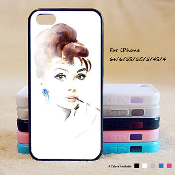Audrey Hepburn Painting Phone Case For iPhone 6 Plus For iPhone 6 For iPhone 5/5S For iPhone 4/4S For iPhone 5C