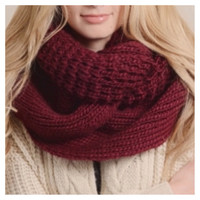 """Extra Large"" Thick Chunky Knit Burgundy Infinity Scarf"