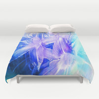 Spring Flowers in Shades of Blue and Lavender Duvet Cover by Jenartanddesign