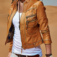 Ochre Zippered Leather Jacket