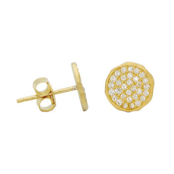 Silver Gold Plated Disc Stud Earrings Pave Cz 5mm Hammer Look  Rim
