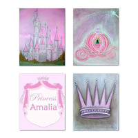 Princess Decor, Cinderella Coach, Royal Crown Art, Princess Castle, SET 4, Custom name, Pink Grey, Princess Wall art, Baby Girl Nursery art