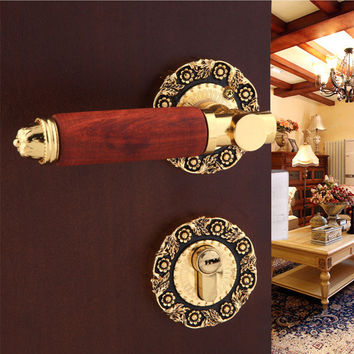 Hardware Indoor Wooden Door Lock Mechanical Double Tongue Lock Gold-Plat Split Bedroom Handle Lock Exquisite Fashion Carved Lock
