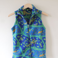 Vintage Patagonia Kids Lizard Blue and Green Fleece Vest // Size 10 // Adult XXS