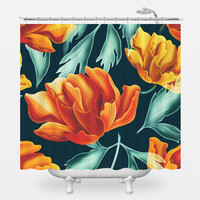 Fiery Florals Shower Curtain