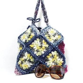 WINTER SALE // Crochet handbag, Squared, Multicolor bag, Crochet granny square bag, Gipsy, Crochet burgundy tote bag,