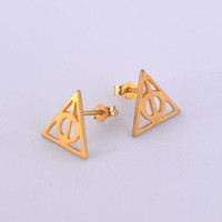 Gold plated 18K Earrings-Deathly Hallows Earrings-Harry Potter Post-Harry Potter Jewelry-Geek Teen Jewelry-Sterling Silver Birthday Gift
