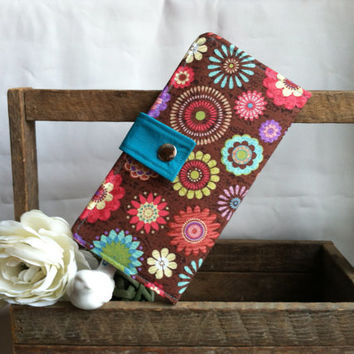 Floral print wallet, card slots, coin pouch, 2 bill slots