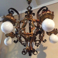 Vintage Ampinco Brass Art Deco PolyChrome Chandelier with Crystals and Color Accents Original Early 1900s