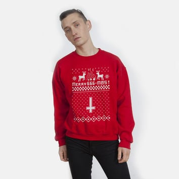Merry 666-Mas Anti-Christmas Sweater | White on Red | Killer Condo Apparel