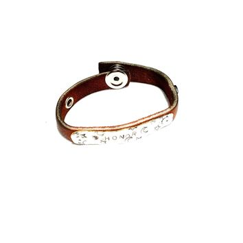 Handmade Leather Bracelet with Honor Stamped on Silver Metal
