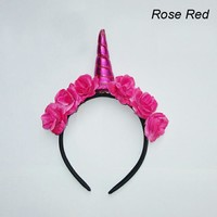 Flowery Unicorn Horn Headband in Magenta Red Rose