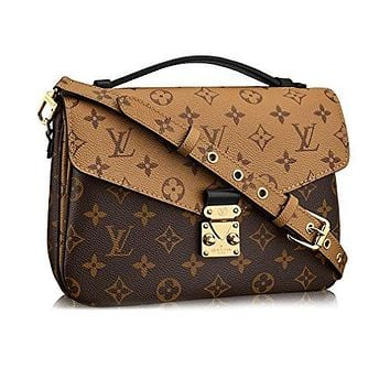 LV Women Shopping Leather Tote Louis Vuitton Monogram Canvas Pochette Metis Cross Body Handbag Article:M41465