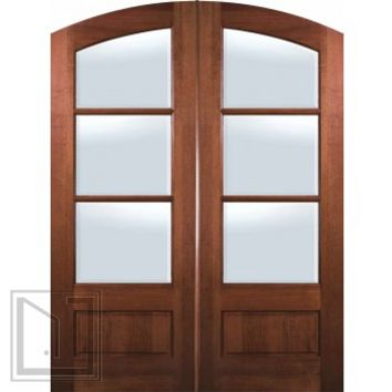 Slab Patio Double Door 96 Wood Mahogany Arch Top 3/4 Lite 3 Lite