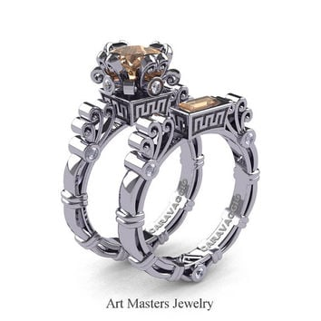 Art Masters Caravaggio 14K White Gold 1.5 Ct Princess Champagne Diamond White Diamond Engagement Ring Wedding Band Set R627S-14KWGDCHD