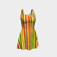 Colorful Stripes on Curls Pattern Flare Dress