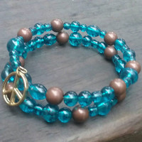 Memory wire bracelet. Turquoise glass and brown beaded bracelet.  Wrap bracelet. peace bracelet.
