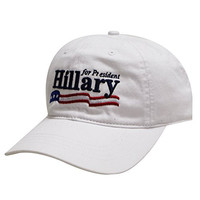 C104 Hillary Usa Flag Cotton Baseball Cap White