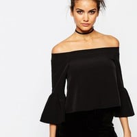 ASOS Off The Shoulder Top With Ruffle Sleeve at asos.com