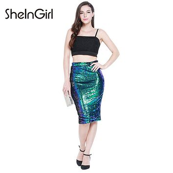 SheInGirl 2017 Office Lady Skirt Women High Waist Bodycon Summer Skirt Sequins Club Party Pencil Skirt