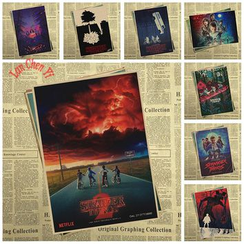 Stranger Things Series 2 Classic Movie Kraft Paper Poster Cafe Creative wallpaper Interior Decoration Free Shipping