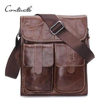 CONTACT'S Genuine Leather Men bags Fashion Brand Designer Handbags Shoulder Vintage Retro Cow Bags Men Messenger Bags Briefcase