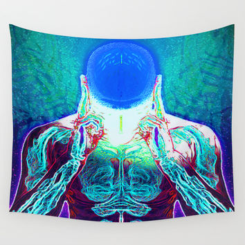 MIND #1 Psychedelic Meditation Vibrant Ethereal Design Wall Tapestry by Capartwork