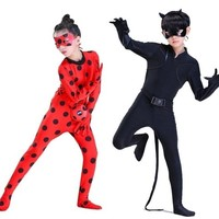 miraculous cat noir ladybug cosplay costume for child fancy dress toddler kids children girls boys adult Lady Bug halloween wig
