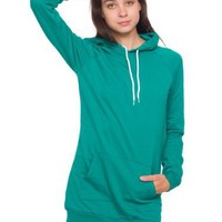 American Apparel California Fleece Pullover Raglan Hoodie Dress - Evergreen / One Size