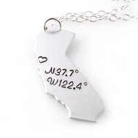 Custom Coordinates State Pendant Necklace