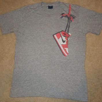 Vintage Retro 80's Blue Tag Nike Air Jordan T-SHIRT Size L