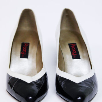 Proxy Black and Cream Heels - Size 7 - 7 1/2
