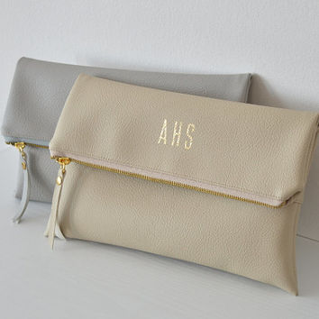 Personalized Bridesmaid Gift set of 2 / Foldover Monogrammed Clutches / Imprint Wedding Clutch Bag